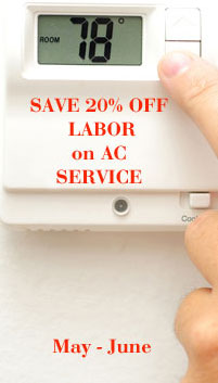 save 20% on air conditioner and heater repair
